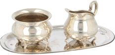 Silver cream- and sugar set with serving tray, Jakob Grimminger, Germany