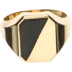 14 kt Yellow gold signet ring set with onyx – Ring size: 20.5 cm