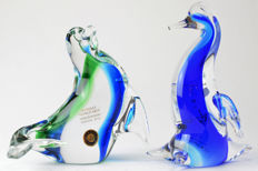 "Rubelli glassworks - pair of sommerso animals ""seal and penguin"""
