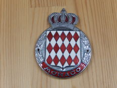 "Vintage Chrome and Enamel Monaco Monte Carlo Cote D'Azur Car Auto Badge 3"" across with factory attached crown at the top"
