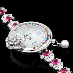 Difeini White Gold Plated Ladies Fancy Jewelry Watch - 2015