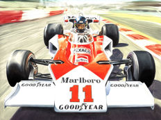 James Hunt McLaren Ford M23 1976 F1 World Champion Formula 1 - Art Print Poster - Hand signed by Artist Andrea Del Pesco + COA.