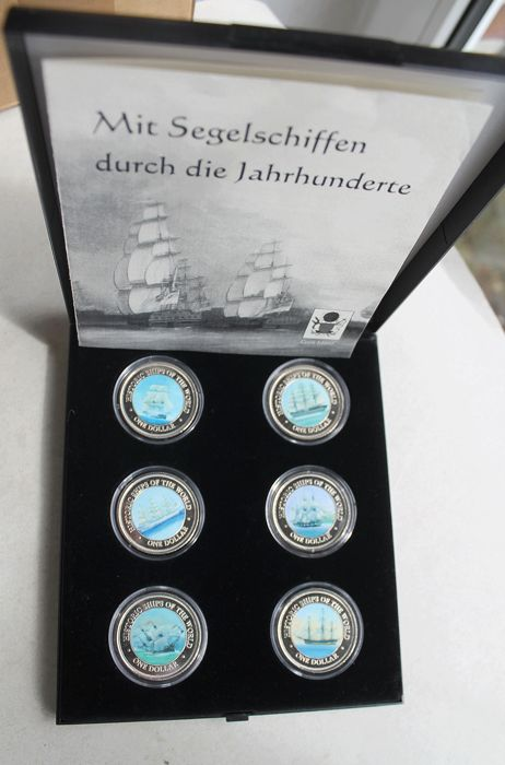 "Cook Islands – 6 x 1 dollar 2003 – ""historic ships"" – set of coloured coins"