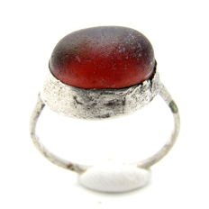 Late Medieval Silver Ring with Red Stone in Bezel - 20mm