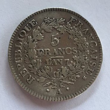 France - 5 Francs An 7 A (1799) 'Union et Force' - Argent