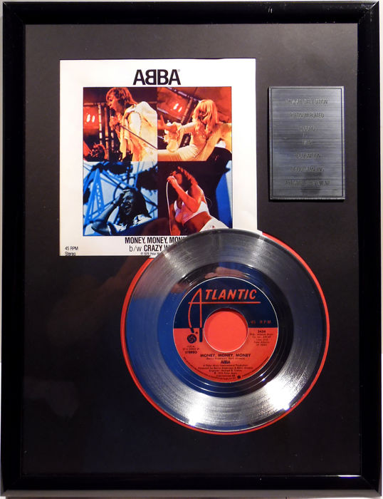 "ABBA - Money, Money, Money - 7"" Single Atlantic Records platinum plated record Special Edition"