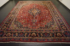 Old hand-knotted Art Nouveau Persian palace carpet, Mashhad, 294 x 378 cm, made in Iran, signed by master knotter