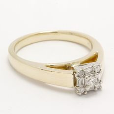 14 kt Yellow Gold 0.20 ct Diamond Ring  ,  Size: 7