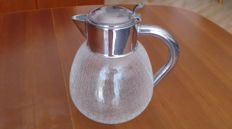 Craquelure glass jug with stainless steel fittings