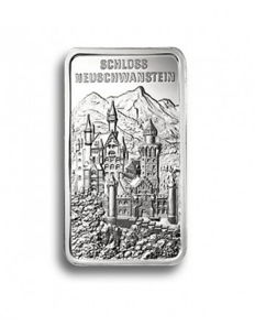Degussa - 1 oz 999 beautiful historical 999 silver bars - Schloss Neuschwanstein - theme bars