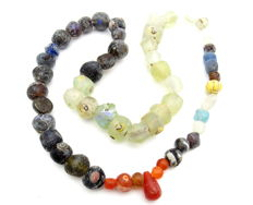 Viking Period  Necklace with Coloured Glass Beads - 520 mm