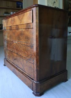 Root chest dresser with 5 drawers, mid 19th C. French