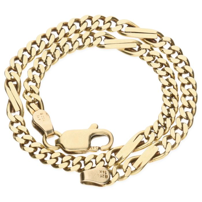 14 kt Yellow gold curb link bracelet - Length 20.3 cm