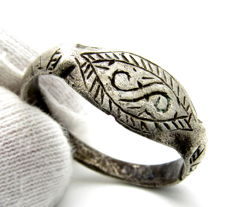 Viking Silver Ring with Runic Symbols - 20mm