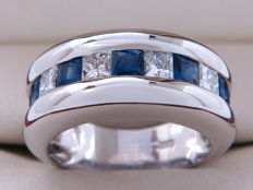 Certified gold ring ring with diamonds and sapphire - 1.26 ct in total - **No Reserve/No Reserve Price**