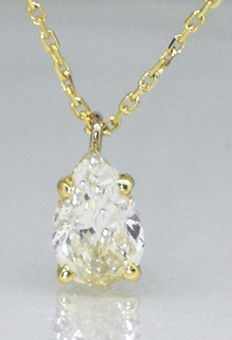 Necklace with pear shaped diamond, 0.73 ct