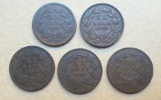 Portugal - Complete series XX Reis - 1882 to 1886 - D. Luis I - 5 coin set