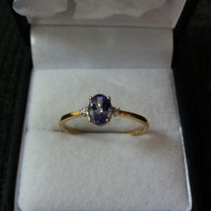Genuine rare 0.71ct AA grade Tanzanite & Diamonds Solitaire yellow gold dress ring. Elegant