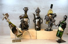 Metal decorative wine bottle holders / wine bottle stands