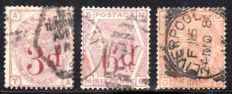 Great Britain 1881/3 - Queen Victoria 3d on 3d Lilac, 6d on 6d Lilac, 1s Orange-brown Plate 14 - Stanley Gibbons 159, 162 and 163