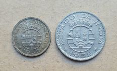 India / Portuguese Republic – Par – 1/4 Rupee & 1/2 Rupee 1952 . Superior condition