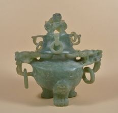 A green stone incense burner in Ming style - China - late 20th century