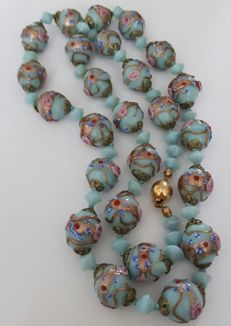 Venetian Lampwork Murano Wedding cake necklace