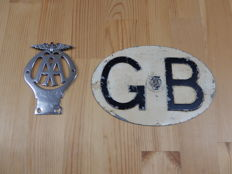 Vintage Chrome AA Car Badge Nice Condition Early Smaller Version Numbered 88973K and an original AA GB Touring Plate