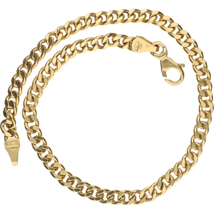 18 kt Yellow gold curb link bracelet – Length: 20 cm.