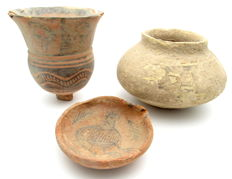 Lot of 3 Indus Valley Painted Terracotta - jar, cup, bowl  (3) 77-120mm x 25-95mm