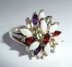 Ring made of 925 silver with 19 precious stones 2.5 ct in total - ring size 59-60 / 18.8-19.1 mm *no reserve price*