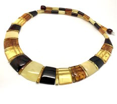 Wide necklace of natural Baltic Amber slices, width 22 mm, length 48 cm, not pressed, no reserve