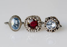 3 silver rings with natural stones