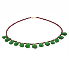 18k/750 yellow gold necklace with emeralds and rubies - Length: 46 cm