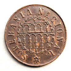 Spain – Provisional Government – 25 thousandths of an Escudo in copper – 1868 – Segovia