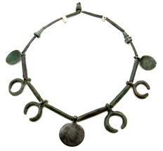 Early Medieval Viking Neck-Torc with Lunar, Sun and Spoon Pendants - 155 mm