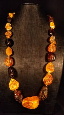 100% Genuine Baltic Amber necklace, 127 grams
