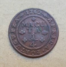 Portugal/Angola – 1/4 Macuta 1762 Equipaga – D. José I . Above Average - Very Rare