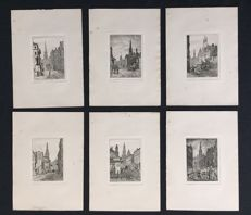 "6 prints by S. Wagstaffe - ""Six etchings or the Streets of Leeds"" - ca. 1896"