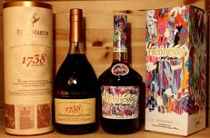 2 bottles of Top Cognac: 1. Hennessy Very Special Limited Edition by JonOne, 2017, + 2. Rémy Martin 1738 Accord Royal, incl. Box, 2x70cl/700ml