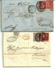 Great Britain, 1850/1865 - 2 letters sent from London to Turin