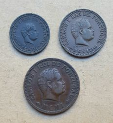 Portuguese India – Trio – 1/12 Tanga 1903 (MCMIII), 1/8 Tanga 1893 (MCMIII) & 1/4 Tanga 1901 (MCMI) – D. Carlos I . Better than average