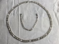 925 Silver set of a men's Figaro link necklace with matching bracelet