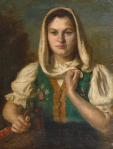 Lajos Rezes Molnar (Hungarian, 1896- 1989) - Portrait of a young Russian woman
