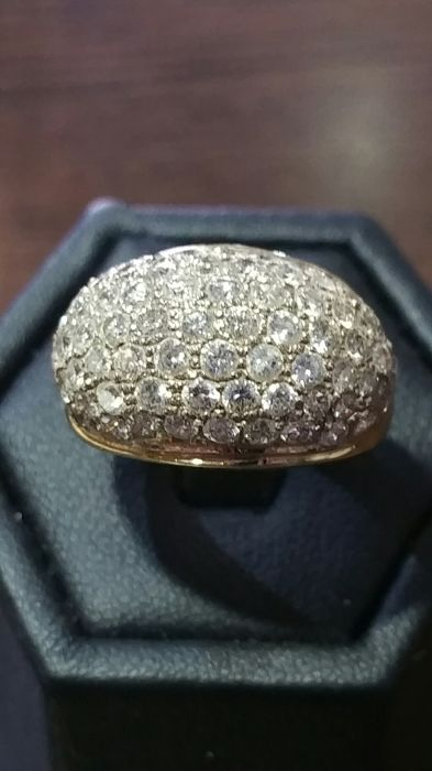 Bague boule or 18 kt  et diamants 1,5 ct - Taille 56/58.