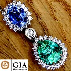 Colombian Green Emerald And Untreated Ceylon Sapphire Diamond Pendant With Necklace in 18 kt Gold 4.22 ct – GIA Certified – No Reserve