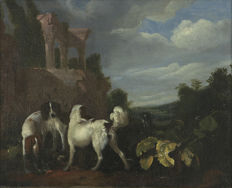 Attributed to Adriaan Cornelisz.  Beeldemaker (1625 - after 1701) - Jachthonden bij een poel