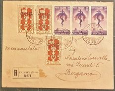 Italy — Trieste A — 5 lire, red/brown (No. 35), three specimens and 20 lire, strip of three (No. 46) violet on registered mail letter from Trieste to Bergamo