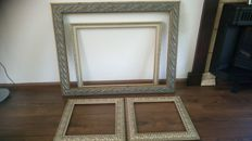 4 beautiful large gold and silver-plated picture frames