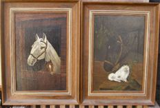 Framed Pair (20th century) - Original English Horse Portraits initialled bottom right
